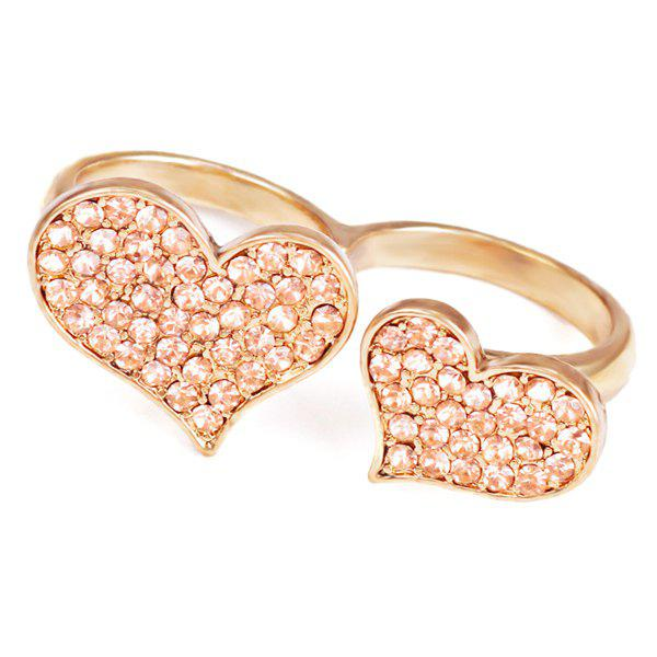 Rhinestoned Heart RingJewelry<br><br><br>Size: ONE-SIZE<br>Color: GOLDEN