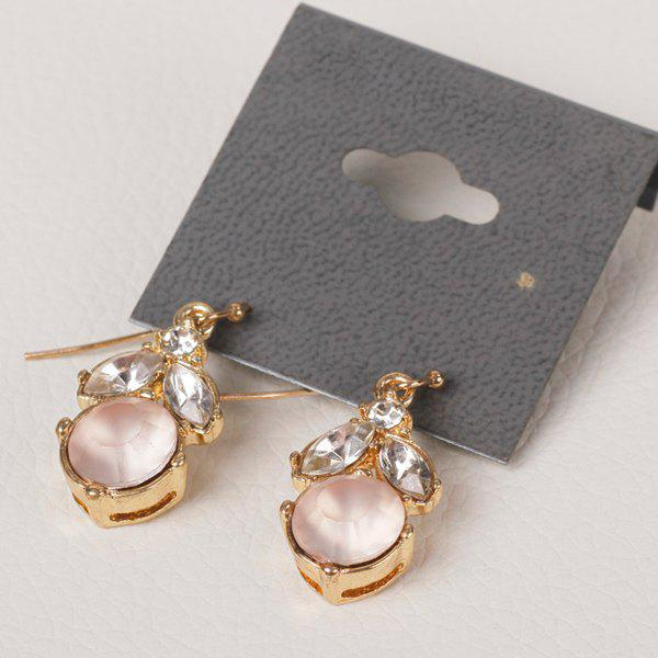 Pair of Chic Style Faux Crystal Round Earrings For Women - GOLDEN