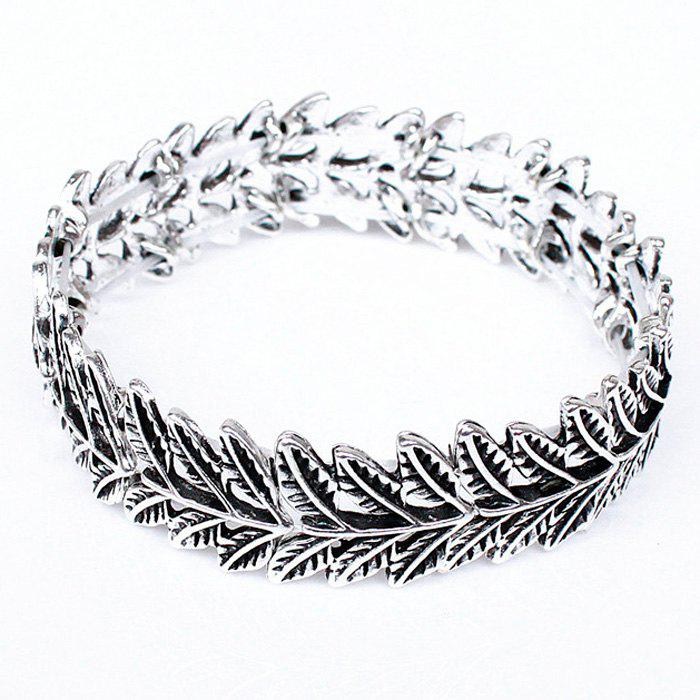 Vintage Style Engraved Leaf Pattern Bracelet For Women