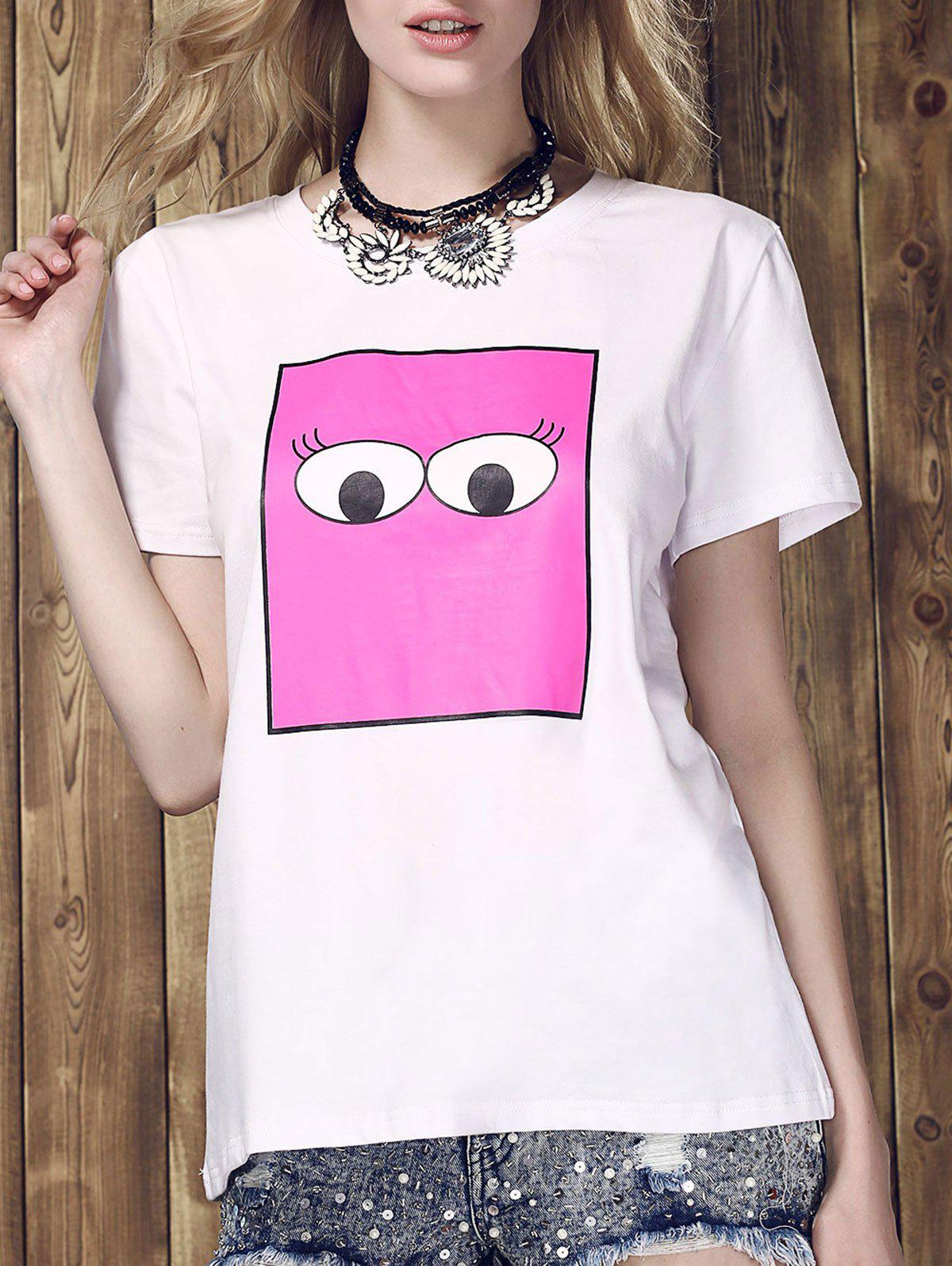 Womens Trendy Monster Eyes Print Round Neck T-ShirtWomen<br><br><br>Size: M<br>Color: WHITE