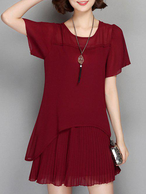 Sheer Pleated Chiffon  Frilled Dress - WINE RED 3XL