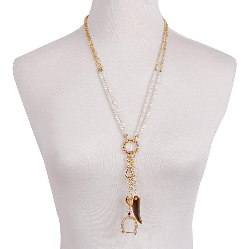 Gorgeous Faux Pearl Rhinestone Horn Sweater Chain For Women - GOLDEN