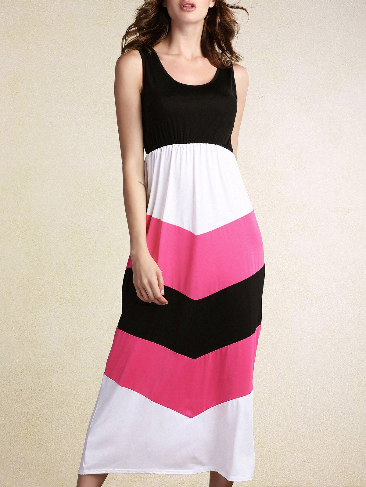 Sweet Women's Scoop Neck Sleeveless Color Block Patchwork Ankle Dress