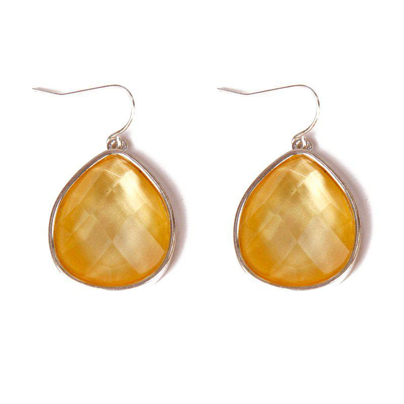 Pair of Chic Style Faux Gem Water Drop Earrings For Women -  YELLOW