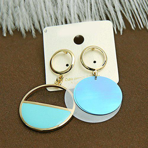 Pair of Vintage Asymmetric Hollowed Round Earrings For Women - BLUE