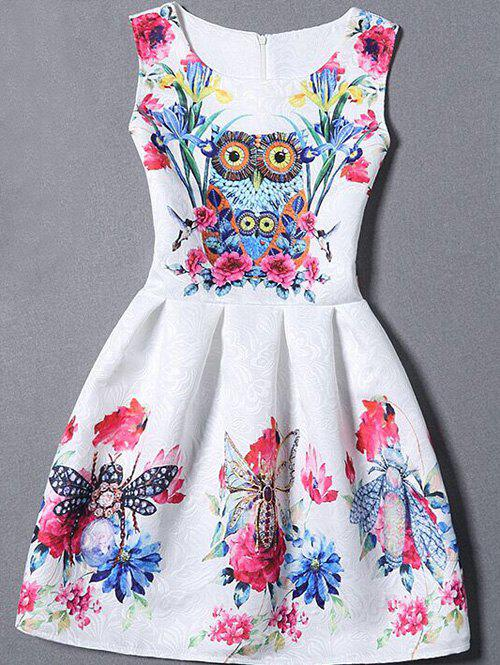 Sleeveless Floral Owl Fit and Flare Dress - WHITE XL