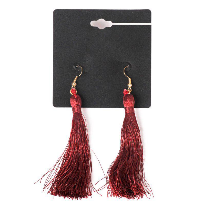 Pair of Graceful Embellished Tassel Earrings For Women - WINE RED