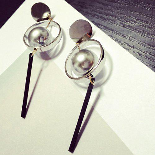 Pair of Vintage Faux Pearl Circle Stick Earrings For Women - SILVER