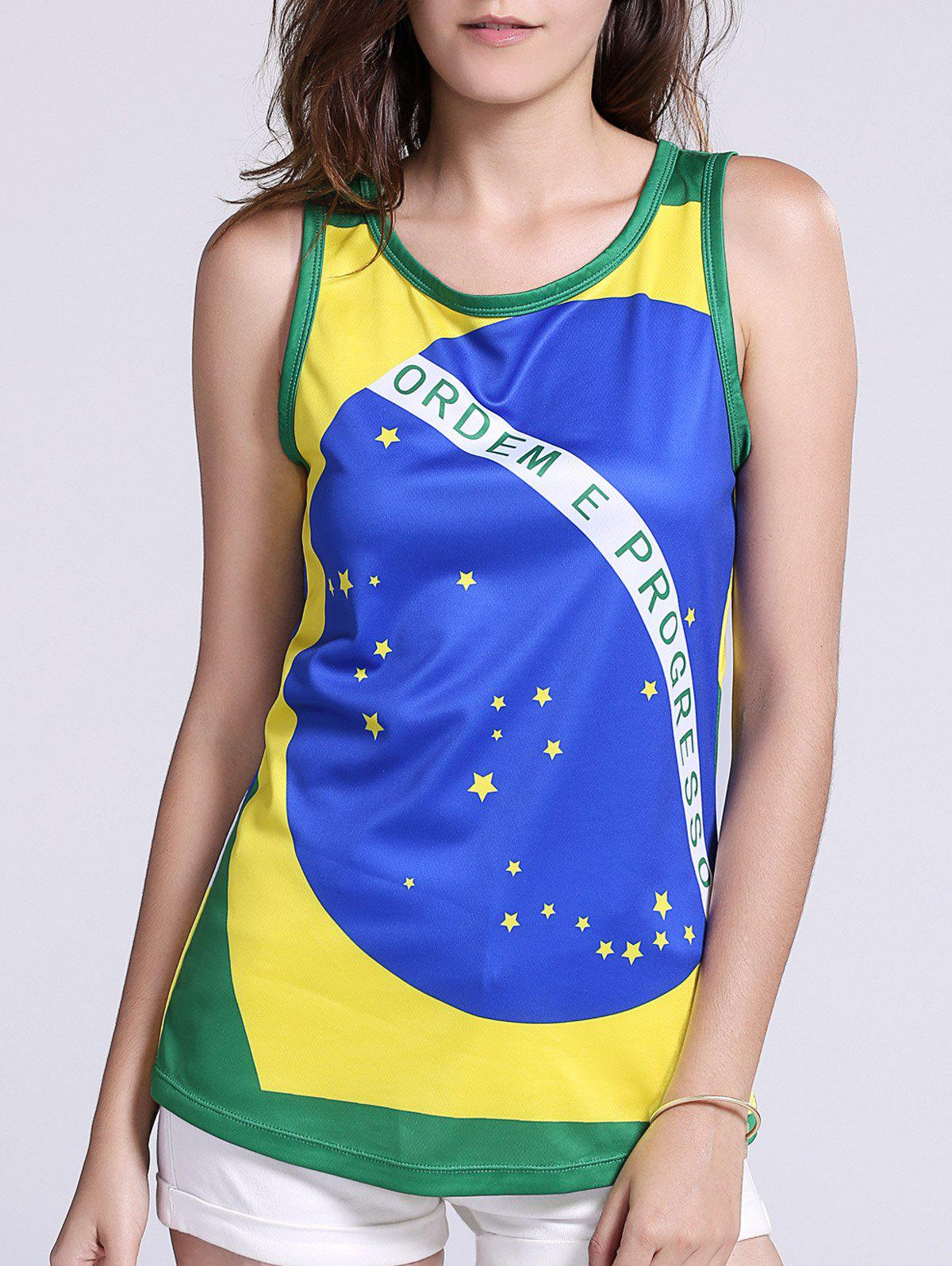 Fashionable Hit Color Brazil Flag Print Tank Top For Women - XL GREEN