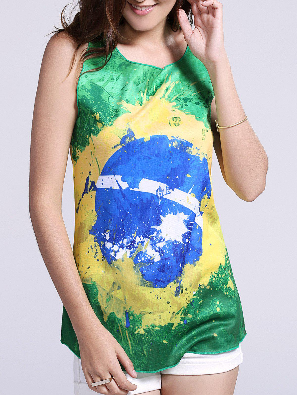 Fashionable Brazil Hit Color Print Tank Top For Women - GREEN XL