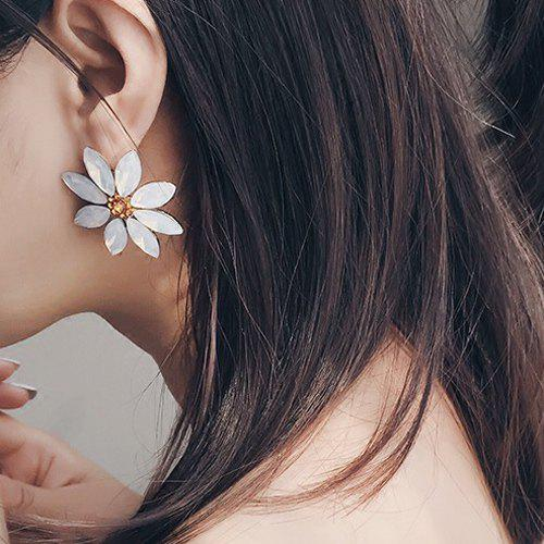 Faux Crystal Daisy Earrings - WHITE