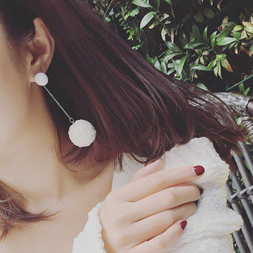 Fish Scale Sequins Ball Drop Earrings - WHITE