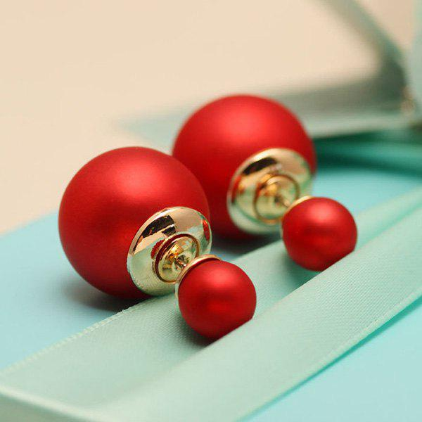 Pair of Chic Embellished Faux Pearl Earrings For Women - RED