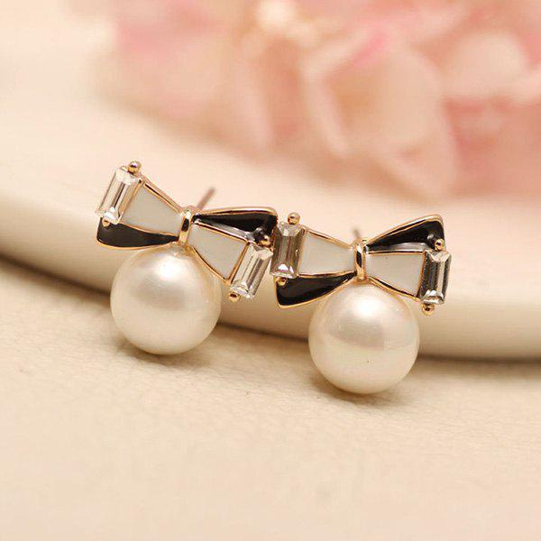 Pair of Chic Faux Pearl Bowknot Shape Earrings For Women - BLACK