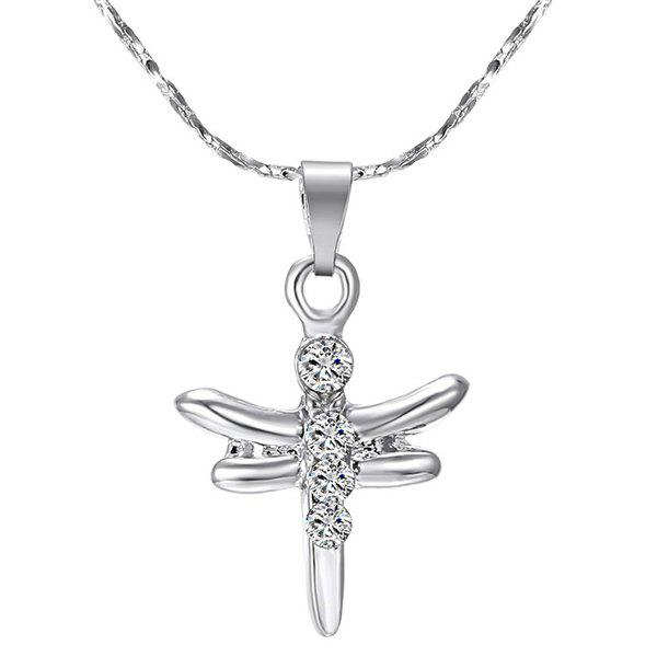 Rhinestone Dragonfly Alloy Pendant Necklace - SILVER