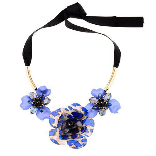 Exaggerated Floral Embellished Necklace - BLUE