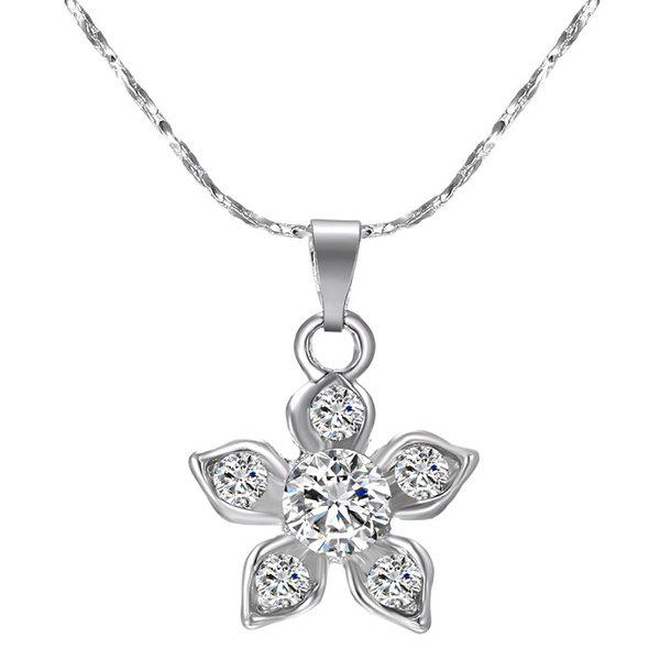 Rhinestone Alloy Floral Pendant Necklace - SILVER