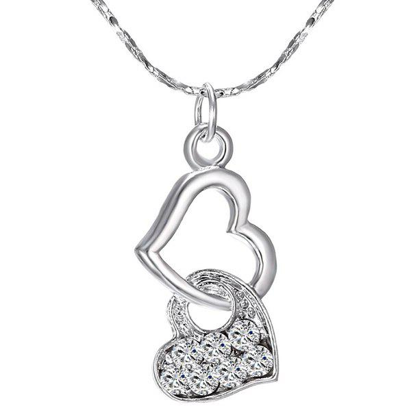 Hollowed Heart Rhinestone Pendant Necklace - SILVER