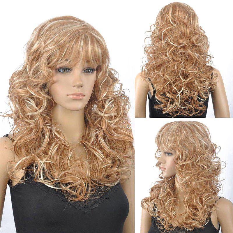 Fluffy Curly Full Bang Synthetic Stunning Blonde Mixed Capless Wig For Women - COLORMIX