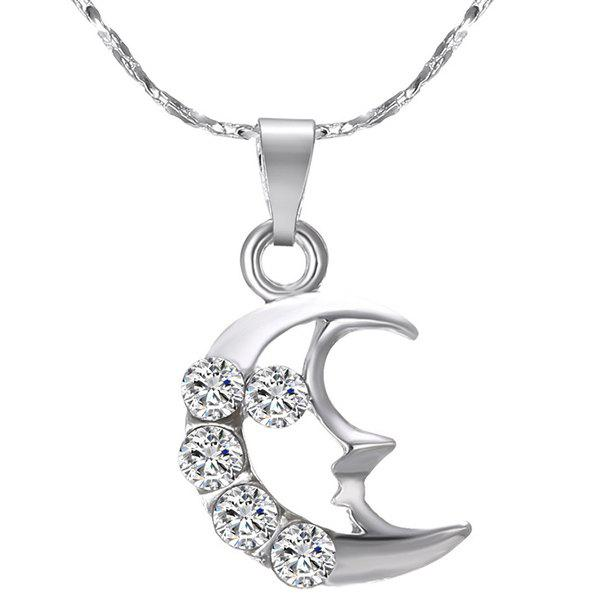Hollowed Rhinestone Crescent Pendant Necklace - SILVER