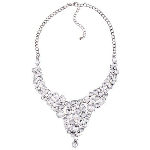 Graceful Rhinestoned Embellished Water Drop Necklace For Women