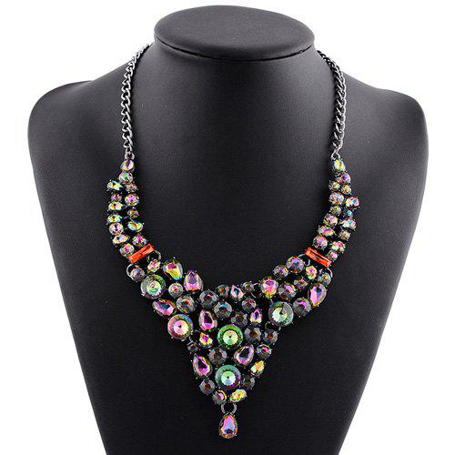 Rhinestoned Embellished Water Drop Necklace - COLORMIX