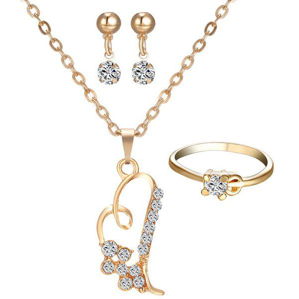 A Suit of Hollowed Heart Rhinestone Necklace Ring and Earrings - GOLDEN