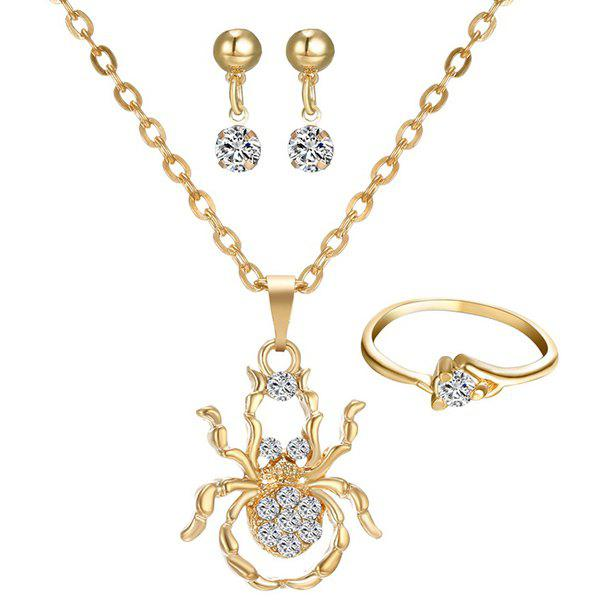 A Suit of Hollow Out Spider Rhinestone Necklace Ring and Earrings - GOLDEN