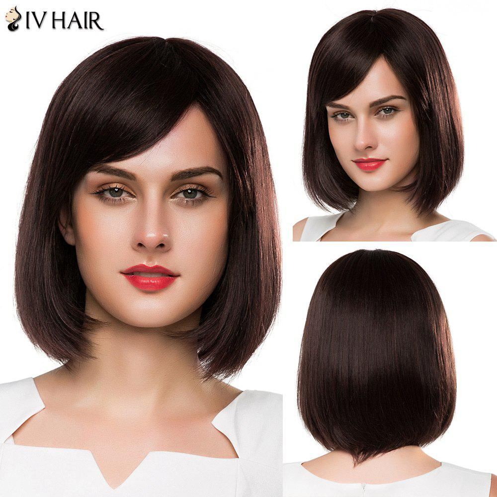 Bob Style Straight Capless Siv Hair Vogue Medium Side Bang Human Hair Wig For Women - MEDIUM BROWN