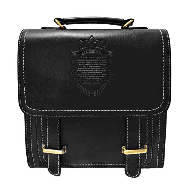 Fashionable Metal and Embossing Design Women's Backpack - BLACK