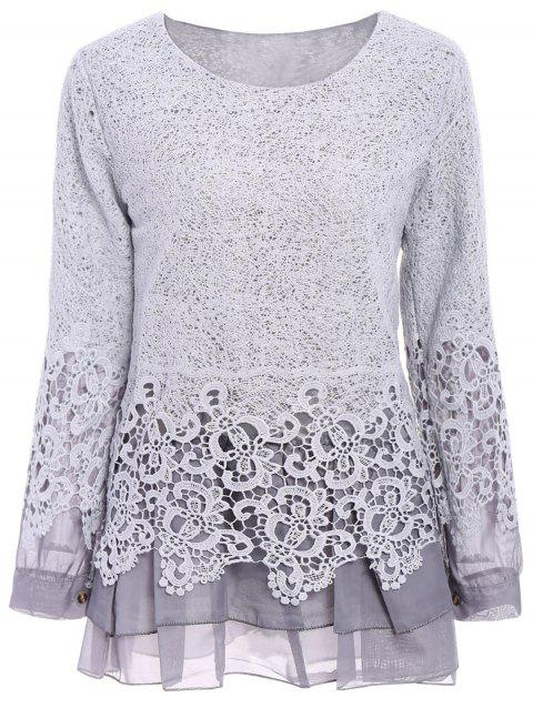 Chic Round Collar Long Sleeve Spliced Lace Women's Blouse - GRAY S