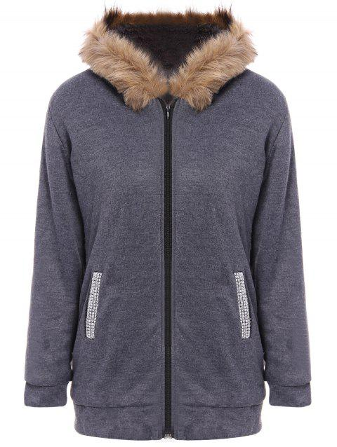 Zip Up Faux Fur Trim Hooded Coat - DEEP GRAY M