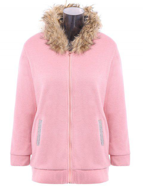 Zip Up Faux Fur Trim Hooded Coat - PINK M