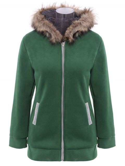 Zip Up Faux Fur Trim Hooded Coat - GRASS GREEN M