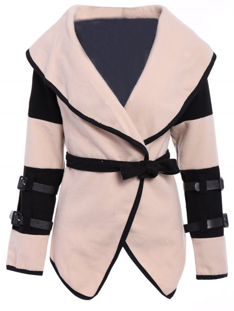 Stylish Color Block Turn-Down Collar Long Sleeve Coat For Women - APRICOT M