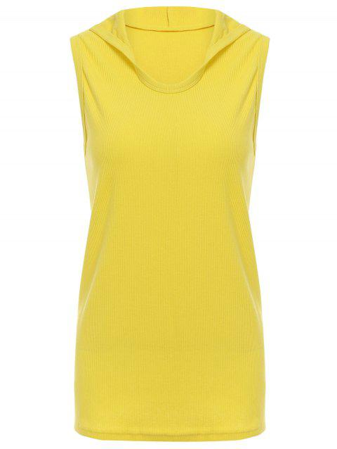 a255aef3b5392 2019 Trendy Hooded Solid Color Sleeveless Men s Tank Top In YELLOW L ...