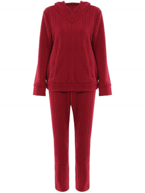 Brief Solid Color Hooded Long Sleeve Hoodie and Pants Twinset For Women - WINE RED L