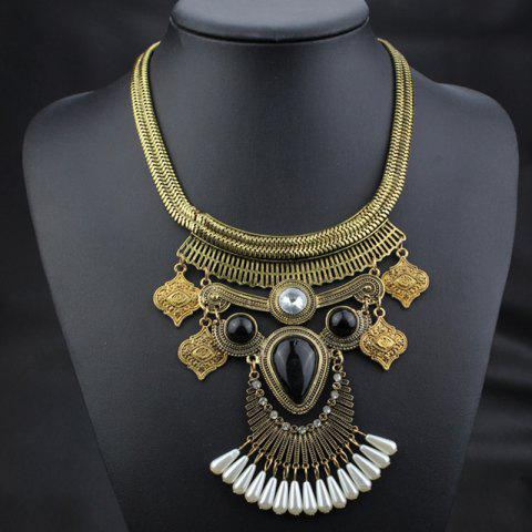 Hollow Out Faux Pearl Necklace - GOLDEN