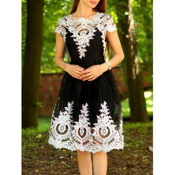 Vintage Lace Square Neck Short Sleeve Dress For Women