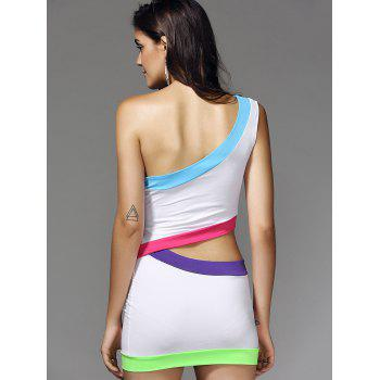 European Color Block Bodycon Nightclub Two Pieces Dress For Women - L L