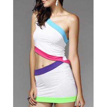 European Color Block Bodycon Nightclub Two Pieces Dress For Women - WHITE L