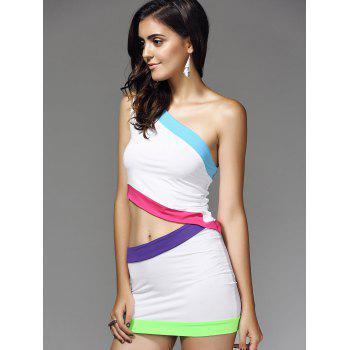 European Color Block Bodycon Nightclub Two Pieces Dress For Women - WHITE WHITE