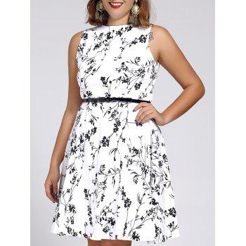 Stylish Round Neck Sleeveless Floral Print Dress For Women