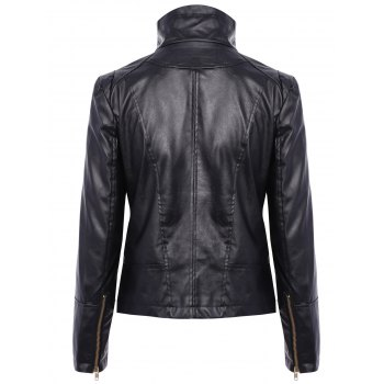 Stylish Turn-Down Collar PU Leather Long Sleeve Jacket For Women - BLACK L