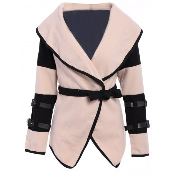 Stylish Color Block Turn-Down Collar Long Sleeve Coat For Women