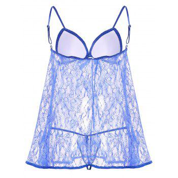 Ladylike and Sexy Lace Splicing See-Through Solid Color Women's Baby Dolls - BLUE BLUE