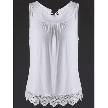 Trendy Jewel Neck Lace Splice Cut Out Tank Top For Women