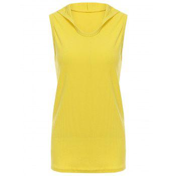 Trendy Hooded Solid Color Sleeveless Men's Tank Top - YELLOW YELLOW