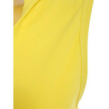 Trendy Hooded Solid Color Sleeveless Men's Tank Top - YELLOW XL