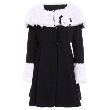 Noble Long Sleeve Turn-Down Collar Flounced Faux Fur Spliced Women's Coat
